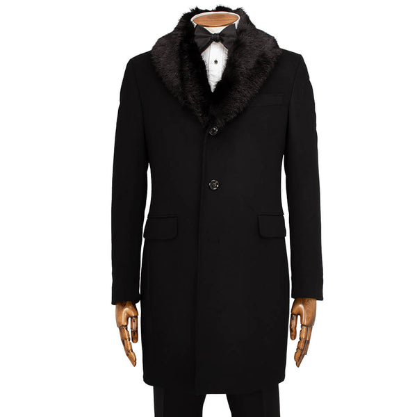 Black Plain Fur Collar Coat - Gagliardi