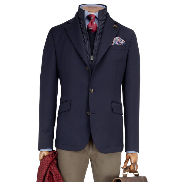 Navy Travel Warm Technical Jacket with Pettorina - Gagliardi