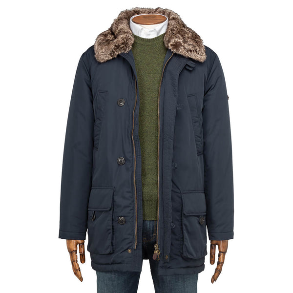 Navy Plain Parka Jacket with Faux Fur Collar - Gagliardi