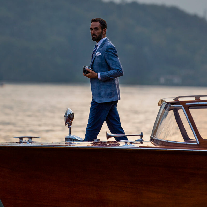 Mid-blue Check Twill Jacket - Gagliardi