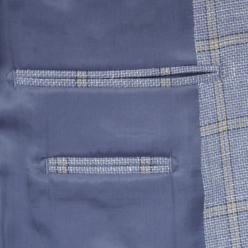 Blue Textured Windowpane Check Jacket - Gagliardi