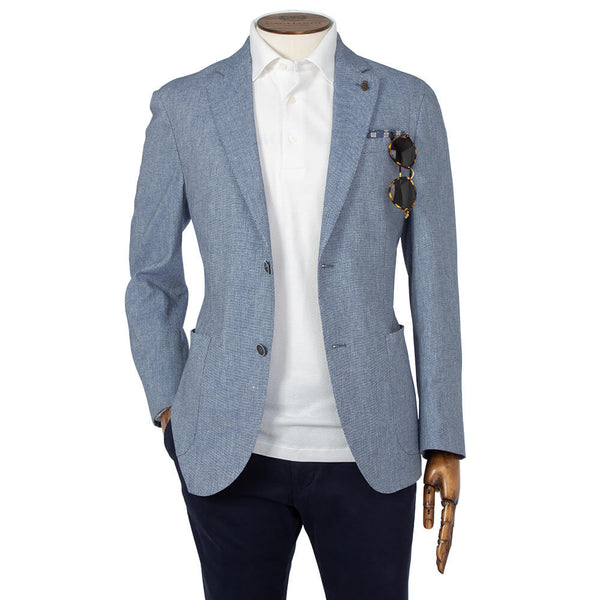 Blue Textured Twill Jacket - Gagliardi