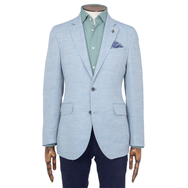 Sky Blue Textured Weave Jacket - Gagliardi