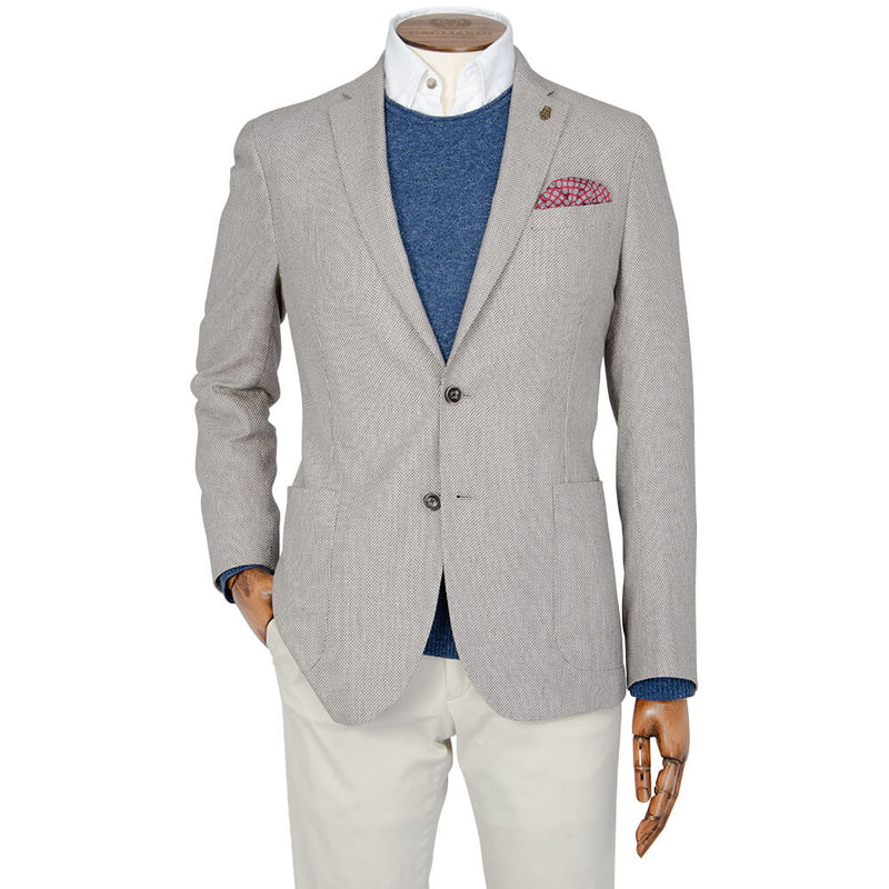 Brown & White Birdseye Jacket - Gagliardi