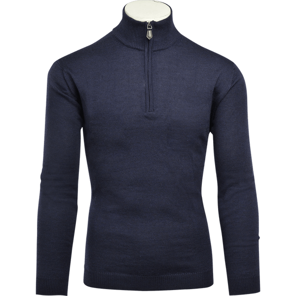 Navy Merino Wool Zip-Neck - Gagliardi