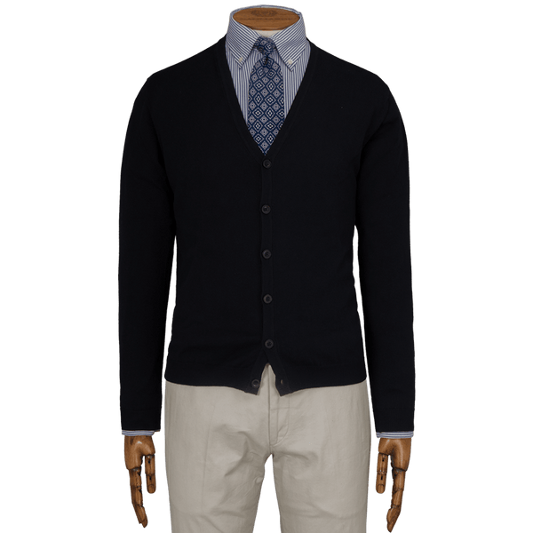 Navy Button Thru Cardigan - Gagliardi