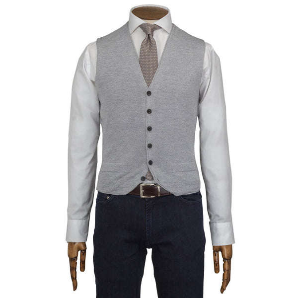 Light Charcoal Grey Merino Blend Knitted Waistcoat - Gagliardi
