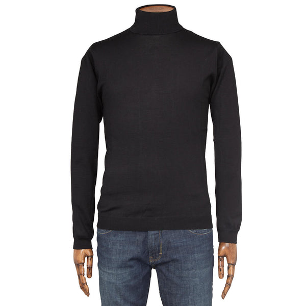 Black Merino Wool Roll Neck - Gagliardi