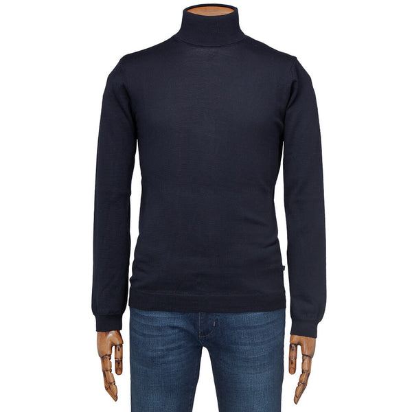 Navy Merino Wool Roll Neck - Gagliardi