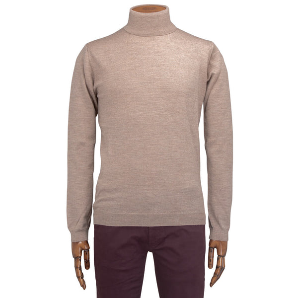 Biscuit Merino Wool Roll Neck - Gagliardi