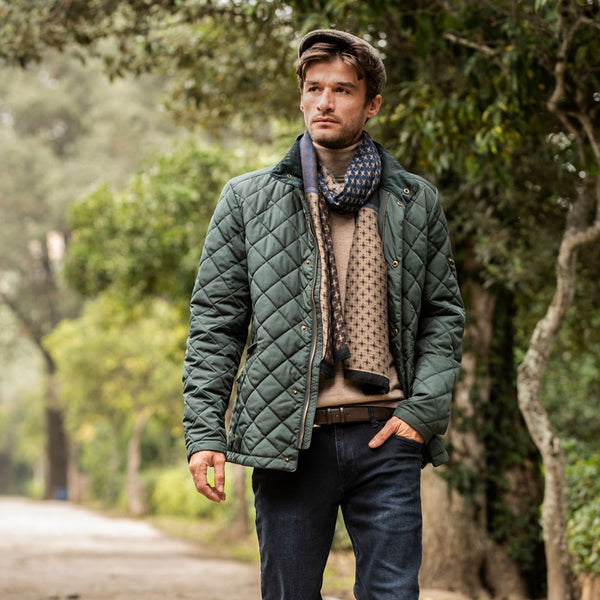 Green Quilted Plain Diamond Quilt Jacket - Gagliardi