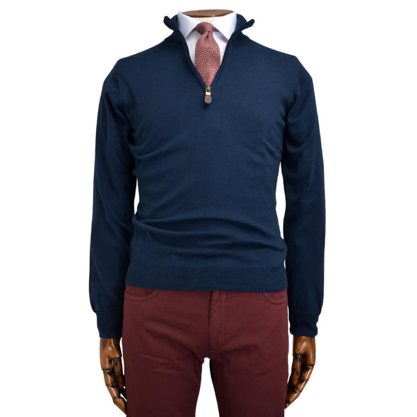 Blue Zip Neck Jumper - Gagliardi