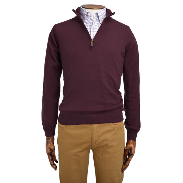 Bordeaux Zip Neck Jumper - Gagliardi