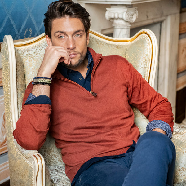 Orange Zip Neck Jumper - Gagliardi