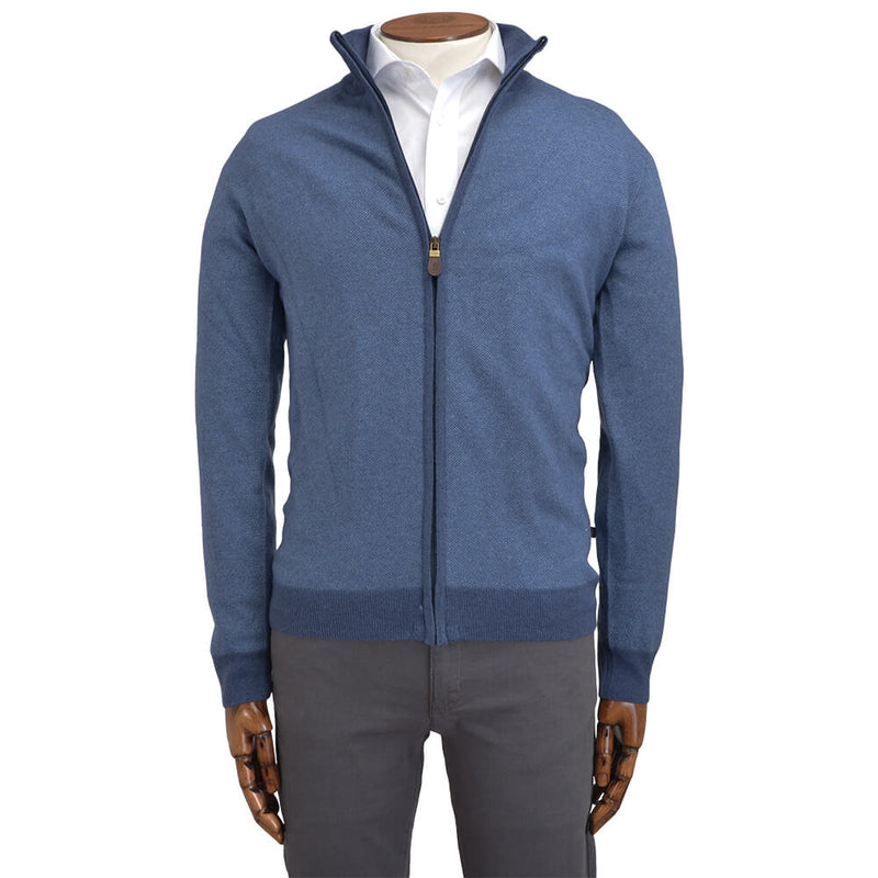 Blue Zip Through Cardigan - Gagliardi