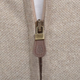 Light Brown Zip Through Cardigan - Gagliardi