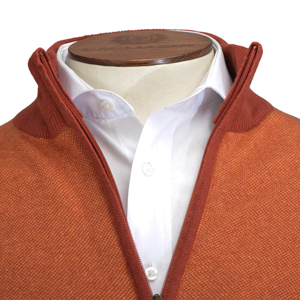 Orange Zip Through Cardigan - Gagliardi
