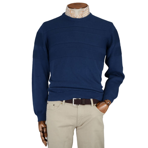 Navy Textured Stripe Crew Neck Jumper - Gagliardi