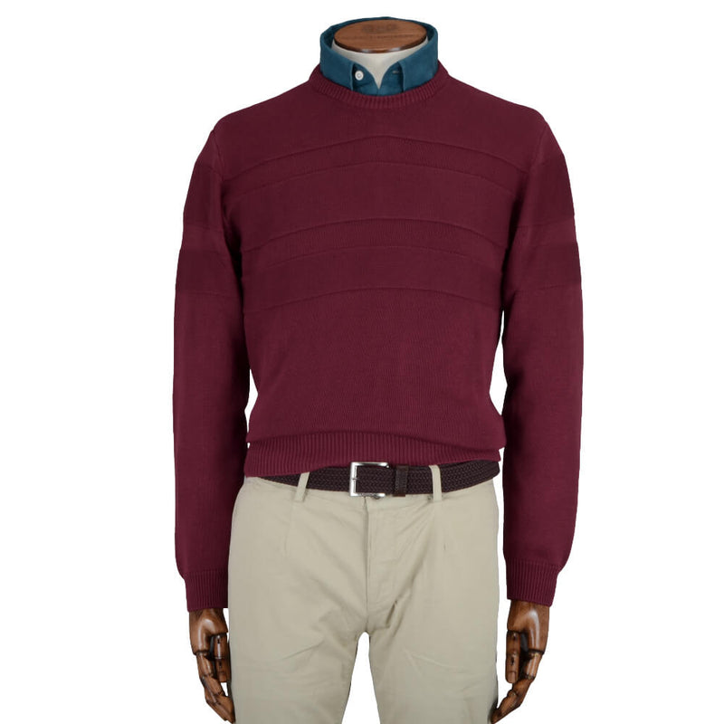 Red Textured Stripe Crew Neck Jumper - Gagliardi