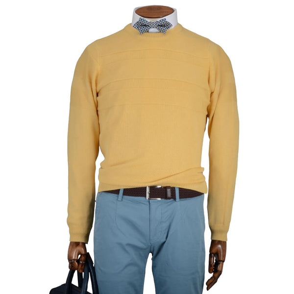 Yellow Textured Stripe Crew Neck Jumper