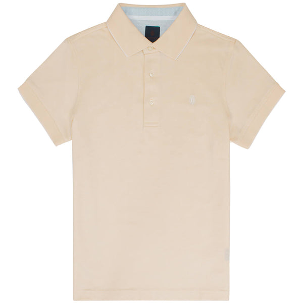 Yellow Short Sleeve Polo Chambray Pique Top - Gagliardi