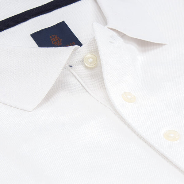 White Short Sleeve Polo With Embroidery Pique Top - Gagliardi