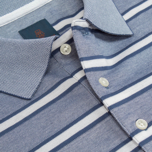 Navy Short Sleeve Stripe Chambray Stripe Polo Top - Gagliardi
