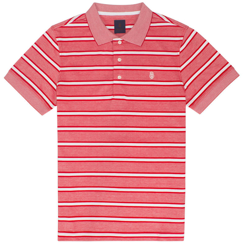 Red Short Sleeve Stripe Chambray Stripe Polo Top - Gagliardi