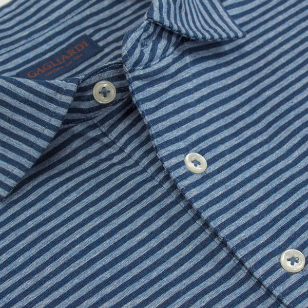 Blue Short Sleeve Melange Stripe Polo Top - Gagliardi
