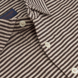 Brown Short Sleeve Polo Melange Stripe Top - Gagliardi