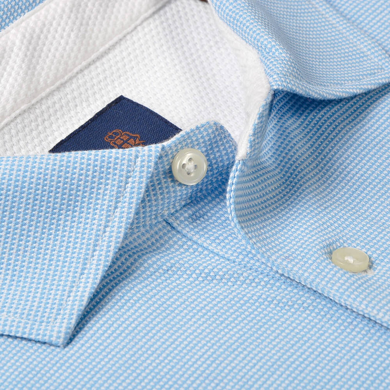 Sky Blue Hairline Stripe Cotton Polo - Gagliardi