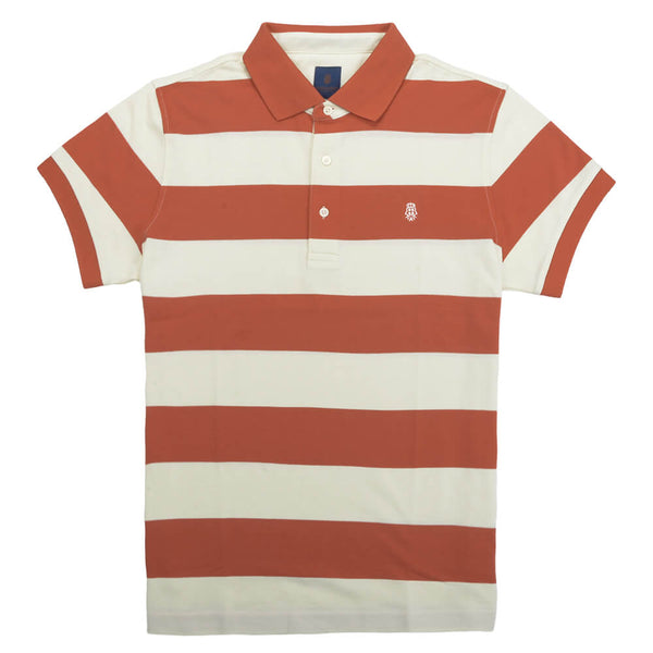 Orange Stripe Cotton Polo - Gagliardi