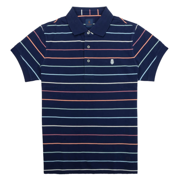 Navy Multi Stripe Cotton Polo - Gagliardi
