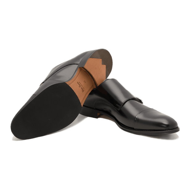 Black Double Monk Shoe