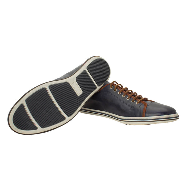 Navy formal calf leather shoes