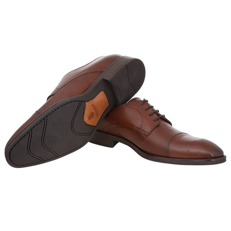 Tan Lace Up Derby Shoes - Gagliardi