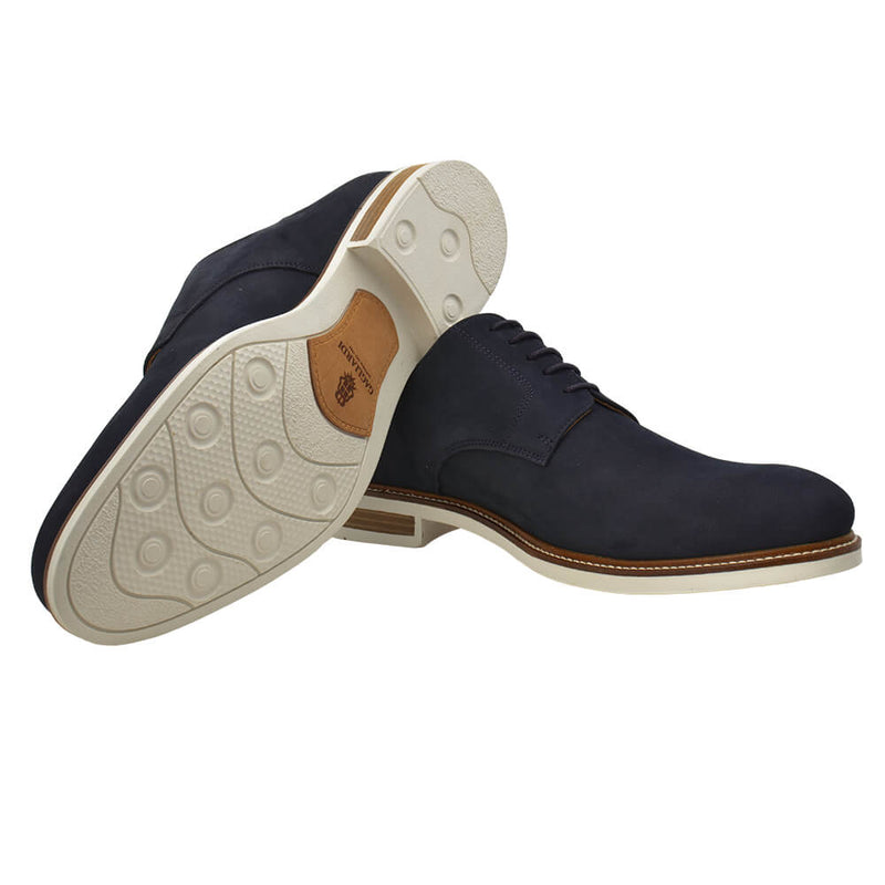 Navy Lace Up Nubuck Shoes - Gagliardi