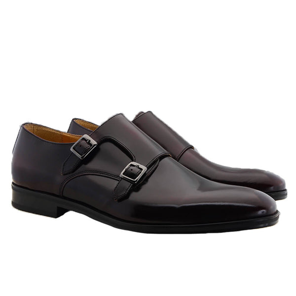 Burgundy Leather Double Monk Shoes
