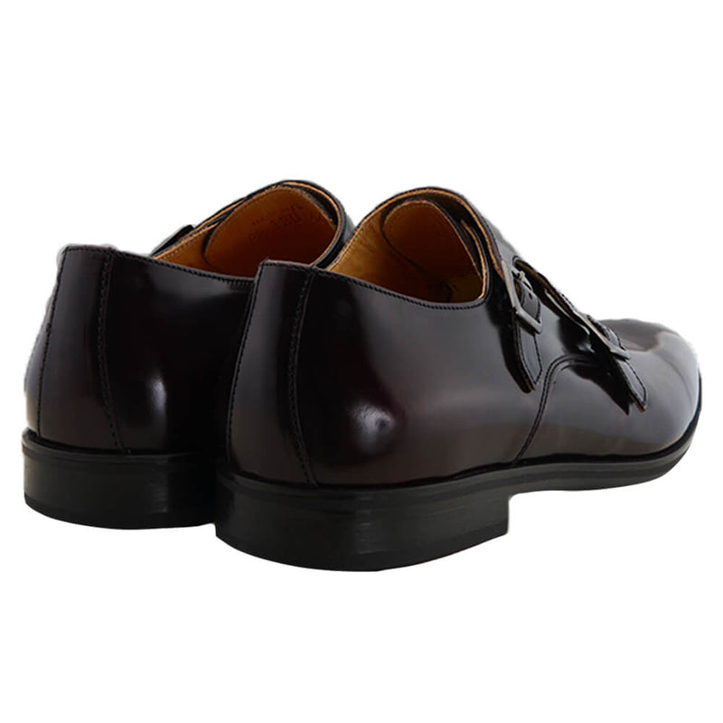 Burgundy Leather Double Monk Shoes - Gagliardi