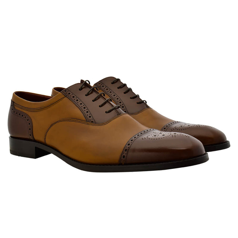 Two-Tone Brown & Tan Leather Oxford Shoes - Gagliardi
