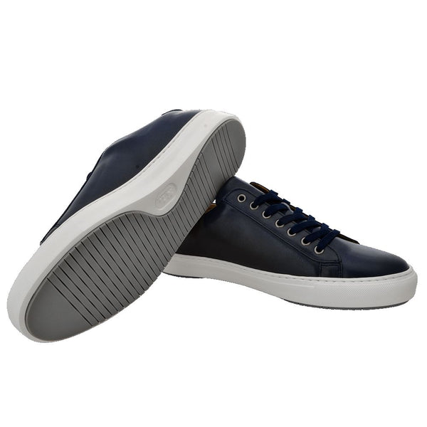 Navy leather sport shoes