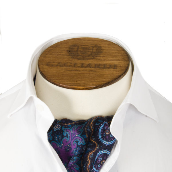 Navy, Rust & Purple Floral Cravat - Gagliardi