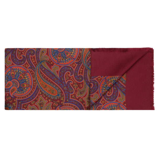 Red & Brown Paisley Silk Scarf