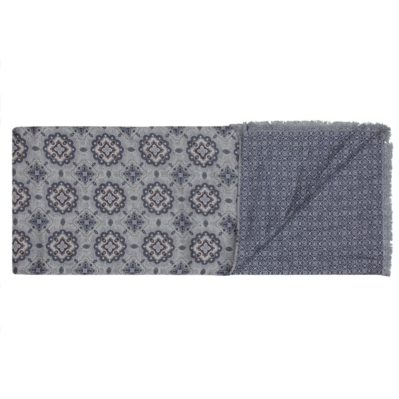 Grey & Blue Double Print Geometric Silk Scarf - Gagliardi