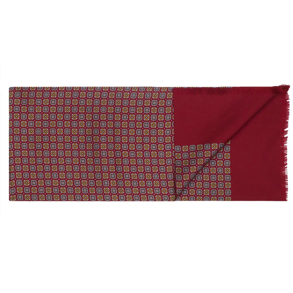 Burnt Red Square & Floral Silk Scarf