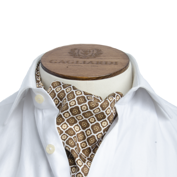 White with Brown Geometric Cravat - Gagliardi