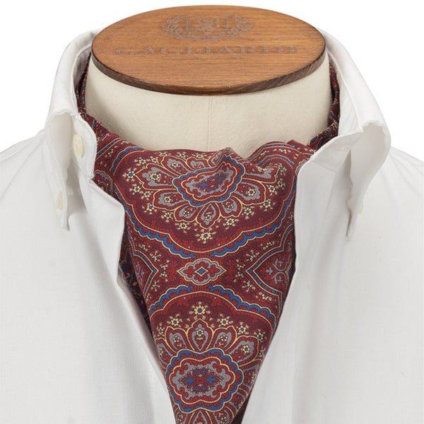 Red Geometric Large Print Cravat - Gagliardi