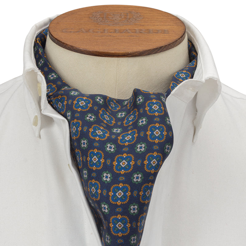Navy Small Geometric Cravat - Gagliardi