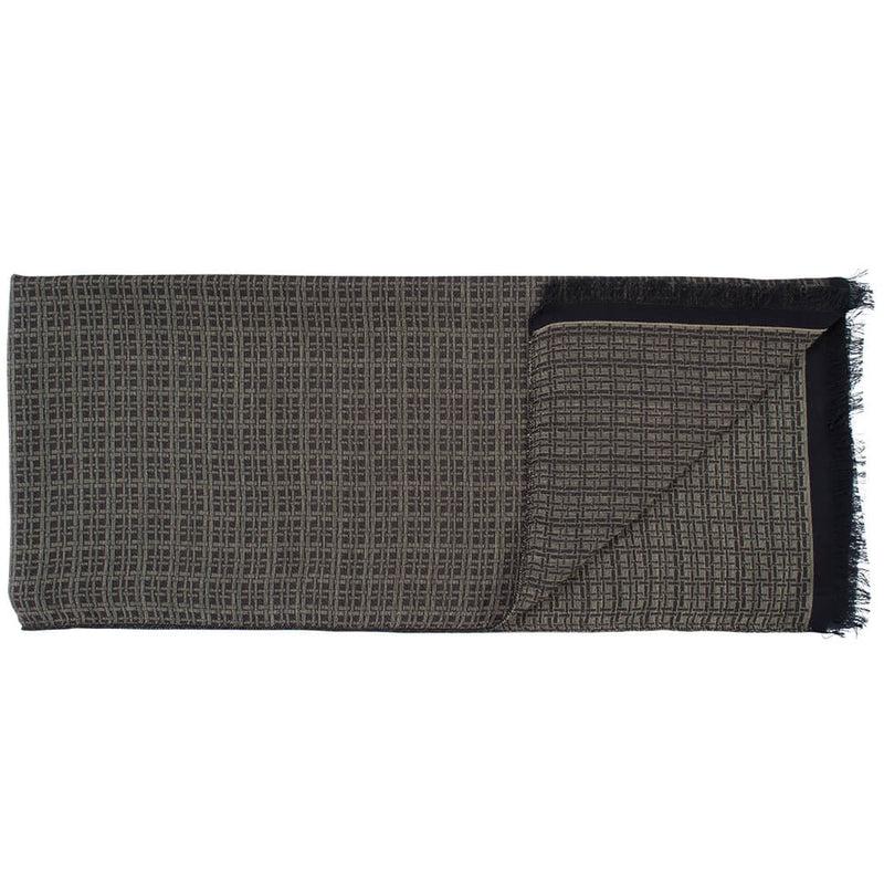Brown With Beige Check Scarf - Gagliardi