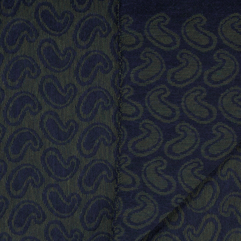 Green With Navy Paisley Scarf - Gagliardi